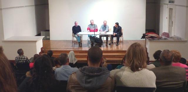 Alan Woods, John McDonnell MP, Rob Sewell and Samuel Moncada (Venezuelan ambassador)